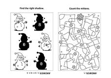 Activity page for kids with puzzles and coloring - snowman, mittens. Two visual puzzles and coloring page for kids. Find the right shadow for each picture of Stock Photos