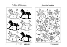 Activity page for kids with puzzles and coloring - rocking horse, baubles, snowflakes stock illustration