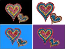 Two vivid color shape hearts close one to each other Stock Photo