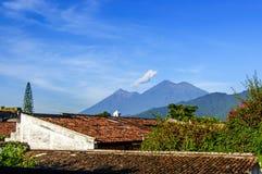 Two volcanoes, Antigua, Guatemala. Fuego volcano & double-ridged Acatenango volcano outside Spanish colonial town & UNESCO World Heritage Site of Antigua royalty free stock photography