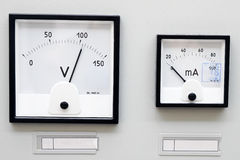 Two volt meter Royalty Free Stock Photos