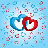 Two volumetric hearts on a blue background. Two volumetric hearts. Blue background with blue and red hearts for a Valentine day Vector Illustration