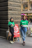 Two volunteers at Melbourne Town Hall for federal election Stock Photo