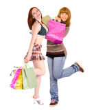 Two voluptuous shopping ladies dancing Stock Image