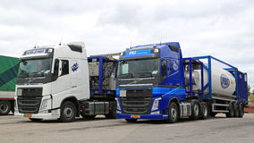 Two Volvo FH Tank Trucks for Chemical Transport. SALO, FINLAND - OCTOBER 4, 2015: Two Volvo FH Semi tank trucks for chemical transport. The two trucks transport Stock Photos