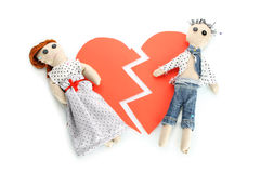 Two voodoo dolls boy and girl Royalty Free Stock Photos
