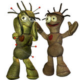 Two voodoo  dolls in scene. 3d rendering  of two voodoo dolls  in greeting as illustration Stock Photo