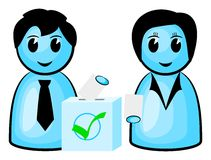 Two voters at a ballot box. Vector illustration of two voters at a ballot box stock illustration
