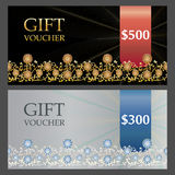 Two Voucher templates with gold silver premium pattern. Vector illustration Royalty Free Stock Images
