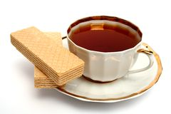 Two wafers and cup of tea Royalty Free Stock Photos