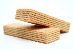 Two wafers with a vanilla cream the front view. Macro Royalty Free Stock Image