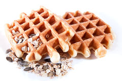Two Waffles from integral wholegrain Stock Photos