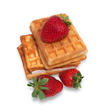 Two waffles and ripe strawberries isolated Stock Photography