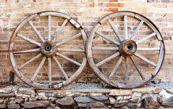 Two Wagon Wheels Stock Images