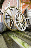 Two wagon wheels. Vintage and retro - Farm objects - Two wagon wheels Royalty Free Stock Photography