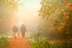 Two walkers in a park Stock Photography
