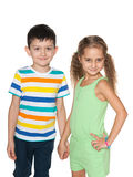 Two walking fashion kids Royalty Free Stock Photo
