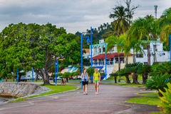 Two walking girls. Girls walking in the beautiful park among palm trees in Samana, Dominican Republic Royalty Free Stock Images