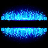 Two walls of blue fire on black. Stock Photos