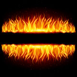 Two walls of fire. Walls of fire in mirror reflection with blank space between them. Illustration on black background Royalty Free Stock Images