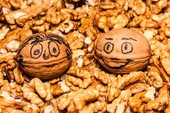 Two happy walnuts. Two walnut shells with happy faces sit on top of a pile of walnut kernel halves. Happy faces Royalty Free Stock Photography