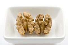 Two Walnuts Kernels in a White Dish Royalty Free Stock Photo