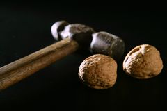 Two walnuts and old aged hammer Stock Photos