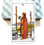 2 Two of Wands Tarot Card Physical Decisions Stay or Go Travel Over Seas. Physical Decisions Stay or Go Travel Over Seas Power Business Partnerships Overseas vector illustration