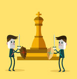 Two warrior businessman fighting for a golden chess. business competition. Flat character design. vector illustration Stock Photos