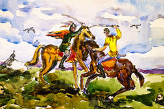 Two warriors fighting by swords on horseback. Watercolor paintin. Two ancient warriors fighting by sabers on horseback. Watercolor painting Stock Images