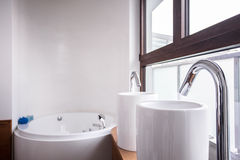 Two washbasins and bath Royalty Free Stock Image
