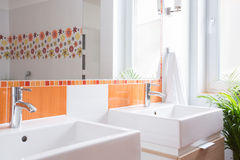 Two washbasins in toilet Stock Image