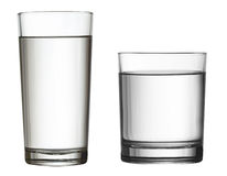 Two water glasses isolated on white clipping path included Stock Photography