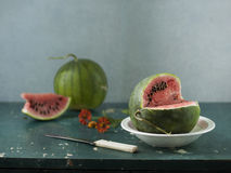 Two water-melons Royalty Free Stock Images