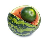 Two water melons on a white background, big and small, dwarfish  version Stock Image