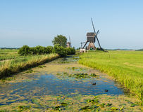 Two water mills in the Netherlands Stock Photo