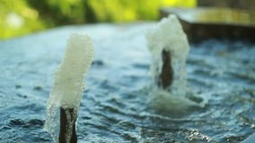 Two water at street fountain stock footage