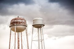 Two water towers Royalty Free Stock Images