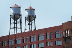 Two Water Towers Royalty Free Stock Photography