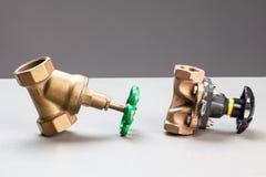 Two water valves Stock Photos