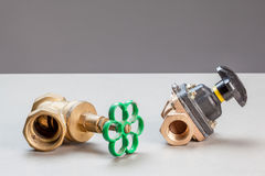 Two water valves Stock Photo