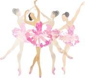 Two watercolor ballerina dancing Stock Images