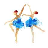 Two watercolor ballerina dancing Stock Images