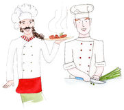 Two watercolor chefs. Set of two chefs in uniform with food - watercolor painting Royalty Free Stock Image