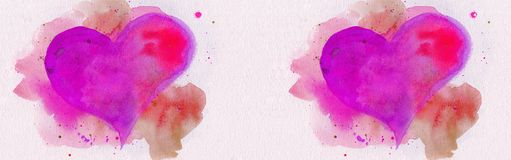 Two watercolor hearts over panoramic background royalty free stock photography