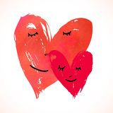 Two Watercolor Painted Hearts With Faces Stock Image