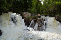 Two Waterfalls on a Creek Swelled to a Very High Level Due to Snow Melt royalty free stock image