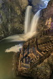 Two waterfalls in the Jiuxiang scenic region in Yunnan in China. Thee Jiuxiang caves area is near the Stone Forest of Kunming Royalty Free Stock Photography