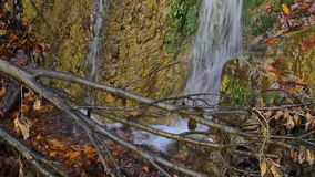 Two waterfalls with splashing water on the rock seen through tree branches in the woods.  stock video