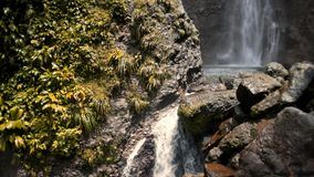 Two Waterfalls on Tropical Island stock video